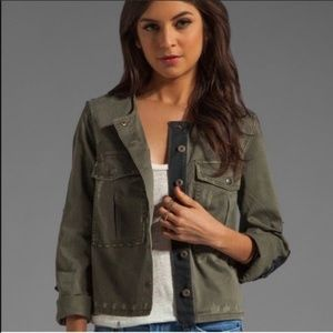 Free People Lou Distressed Army Jacket